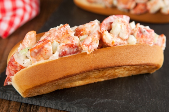 Lobster and sauce roll bap with tomatoes